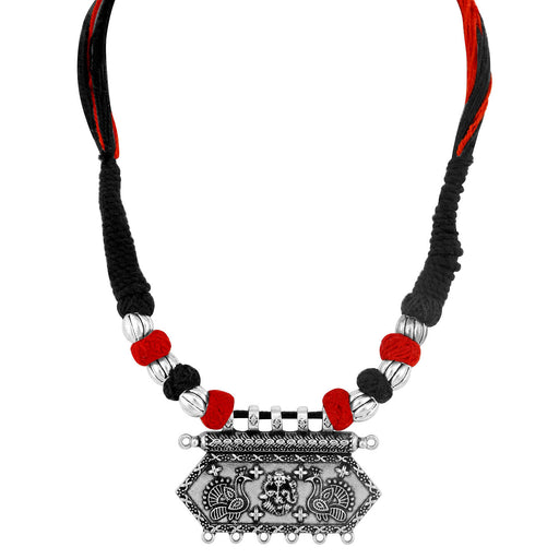 Sukkhi Amazing Oxidised Peacock Silk Thread Necklace For Women