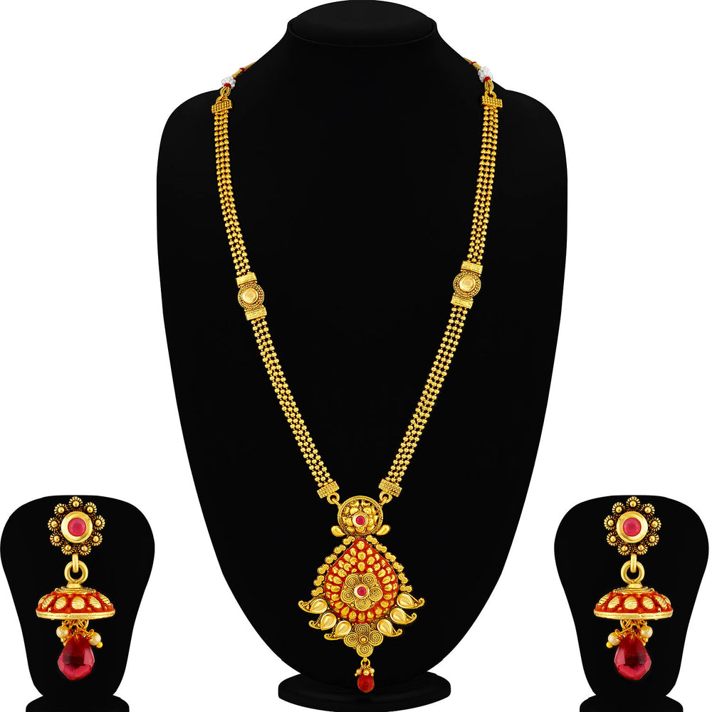 Sukkhi Exclusive LCT Gold Plated Red Mint Meena Collection Pearl Long Haram Necklace Set For Women