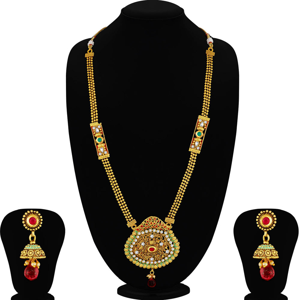 Sukkhi Gorgeous Gold Plated Green Mint Meena Collection Pearl Long Haram Necklace Set For Women