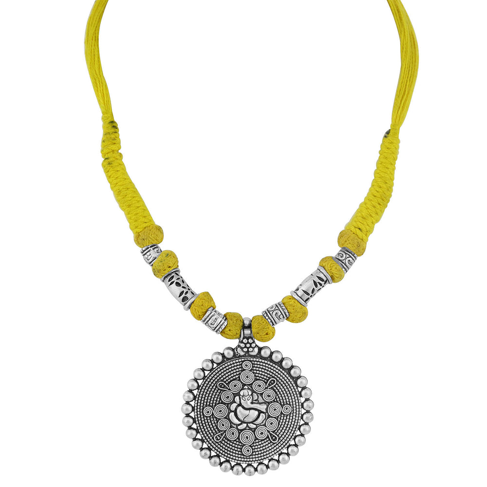 Sukkhi Glossy Oxidised Ganesh Ji Silk Thread Necklace For Women