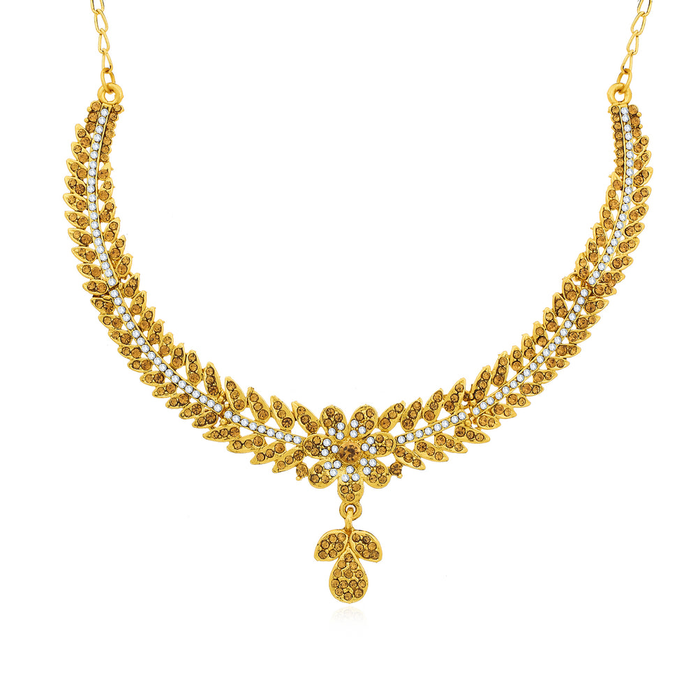 Sukkhi Designer Gold Plated Floral Choker Necklace Set for Women