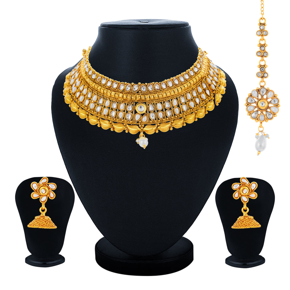 Sukkhi Ravishing Gold Plated kundan and Pearl Choker Necklace Set for Women