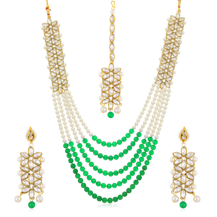 Sukkhi Intricately Gold Plated Kundan and Pearl Long Haram Necklace Set for Women