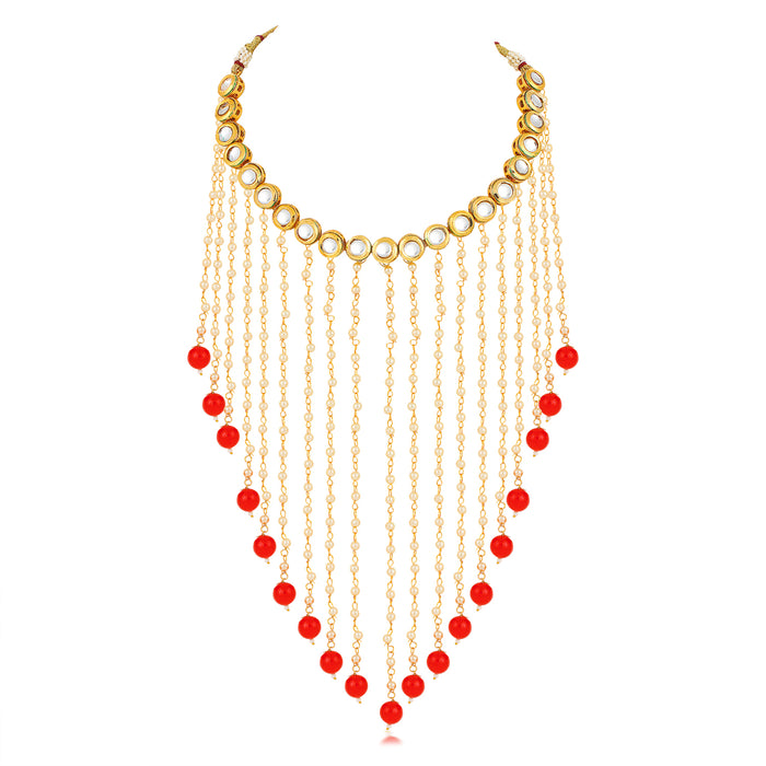 Sukkhi Luxurious Gold Plated Kundan and Pearl Choker Necklace Set for Women