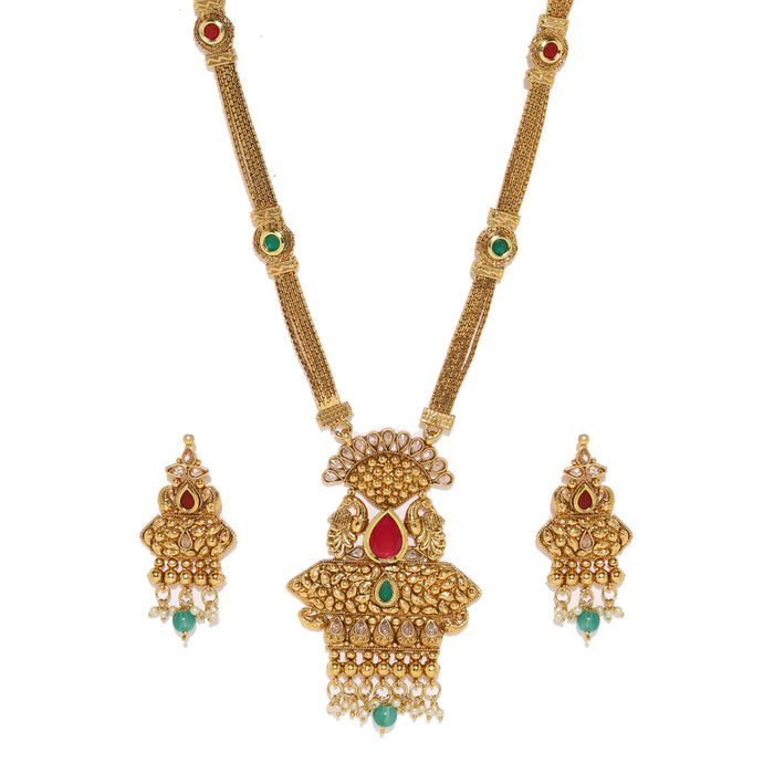 Sukkhi Classy Gold Plated Long Peacock Necklace Set for Women