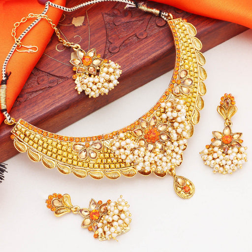 Sukkhi Glorious Gold Plated Pearl Choker Necklace Set For Women