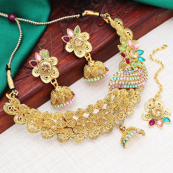 Sukkhi Incredible Gold Plated Floral Choker Necklace Set For Women