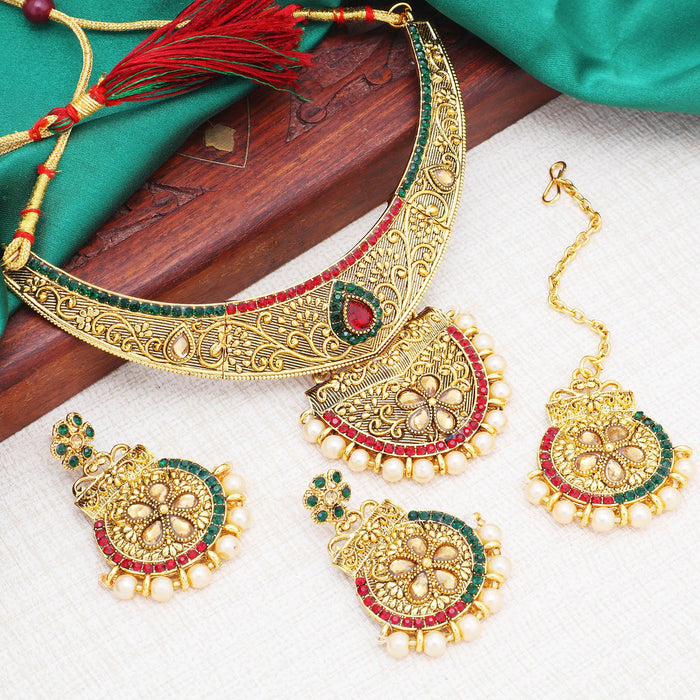 Sukkhi Magnificent Floral Gold Plated LCT Stone Choker Necklace Set For Women