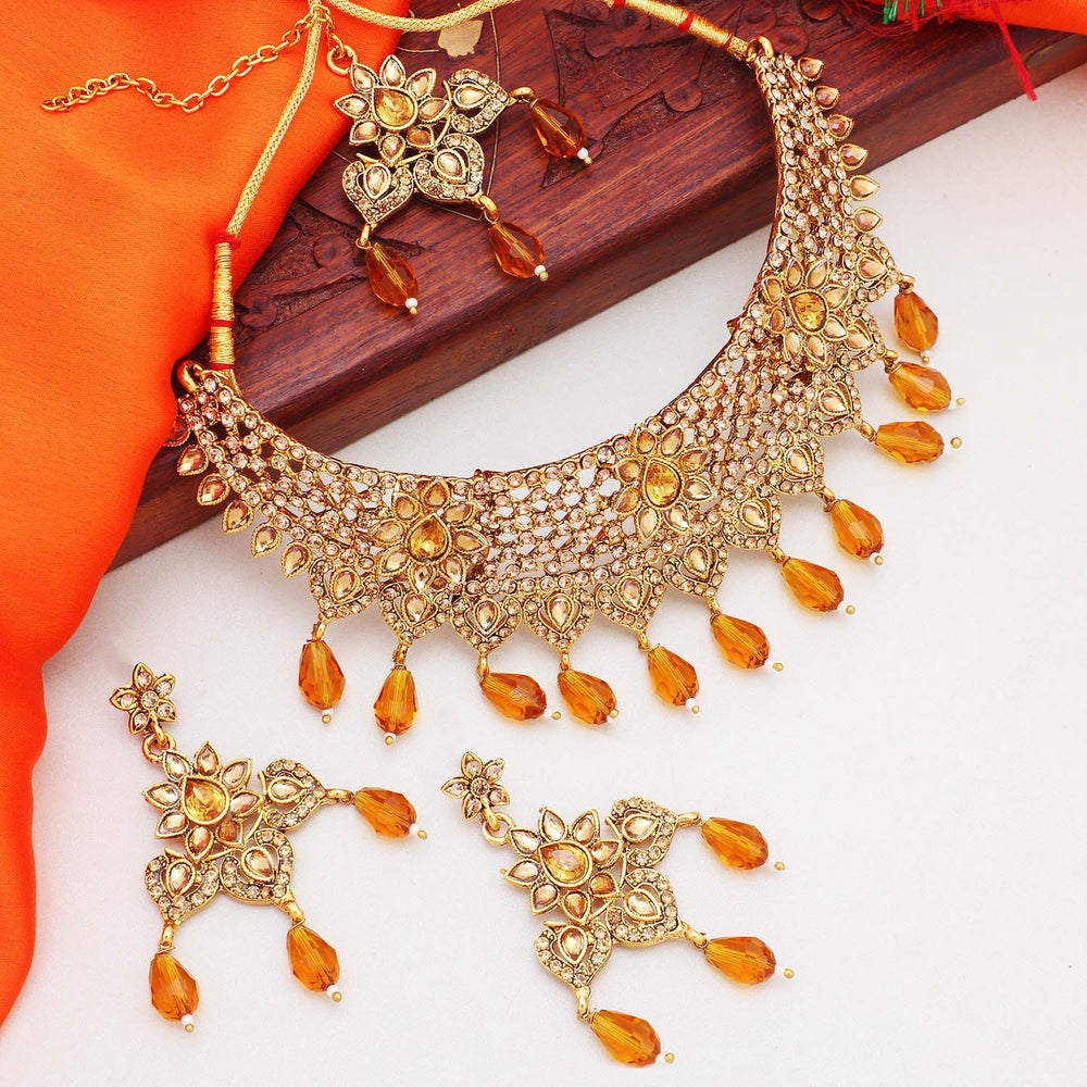 Sukkhi Precious Gold Plated LCT Stone Choker Necklace Set For Women