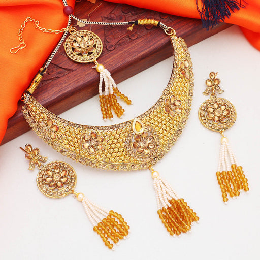 Sukkhi Amazing Gold Plated Floral LCT Stone Choker Necklace Set For Women