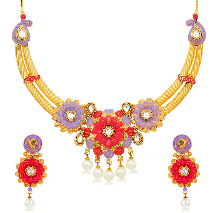 Sukkhi Lavish Gold Plated Floral Choker Necklace Set for Women