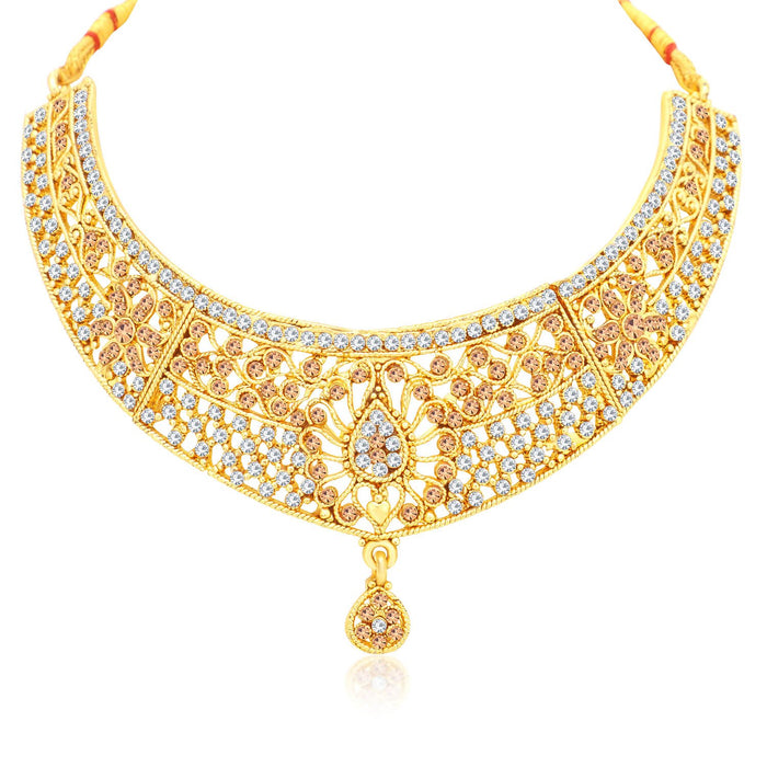 Sukkhi Exclusive Gold Plated LCT Stone Choker Necklace Set For Women