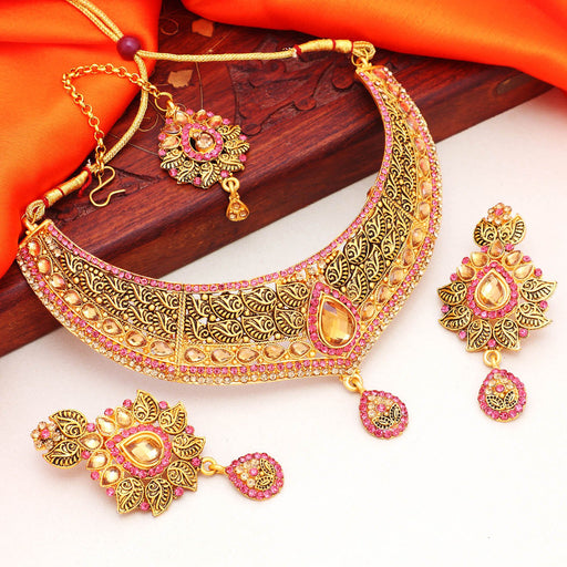 Sukkhi Lavish Gold Plated LCT Stone Choker Necklace Set For Women