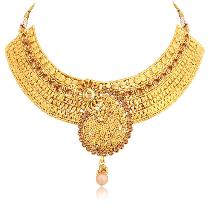 Sukkhi Glimmery Gold Plated Choker Necklace Set For Women