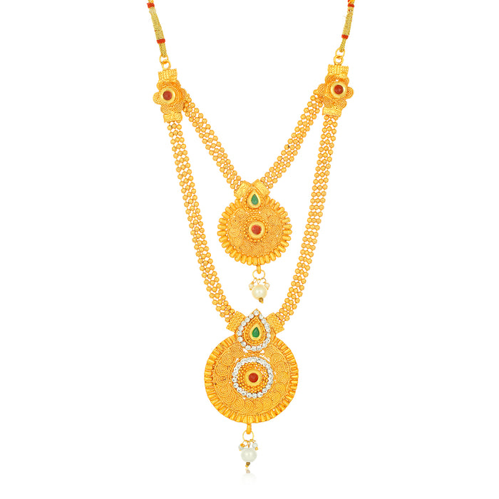 Sukkhi Wavy Gold Plated 3 String Long Haram Necklace Set for Women