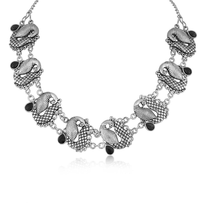 Sukkhi Fascinating Oxidised Peacock Necklace For Women