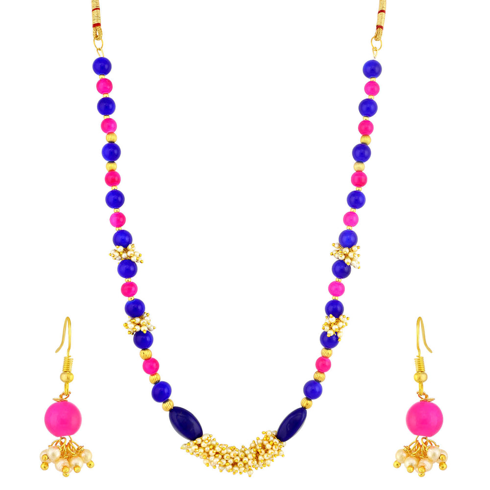 Sukkhi Delightful Gold Plated Pearl Long Haram Necklace Set For Women