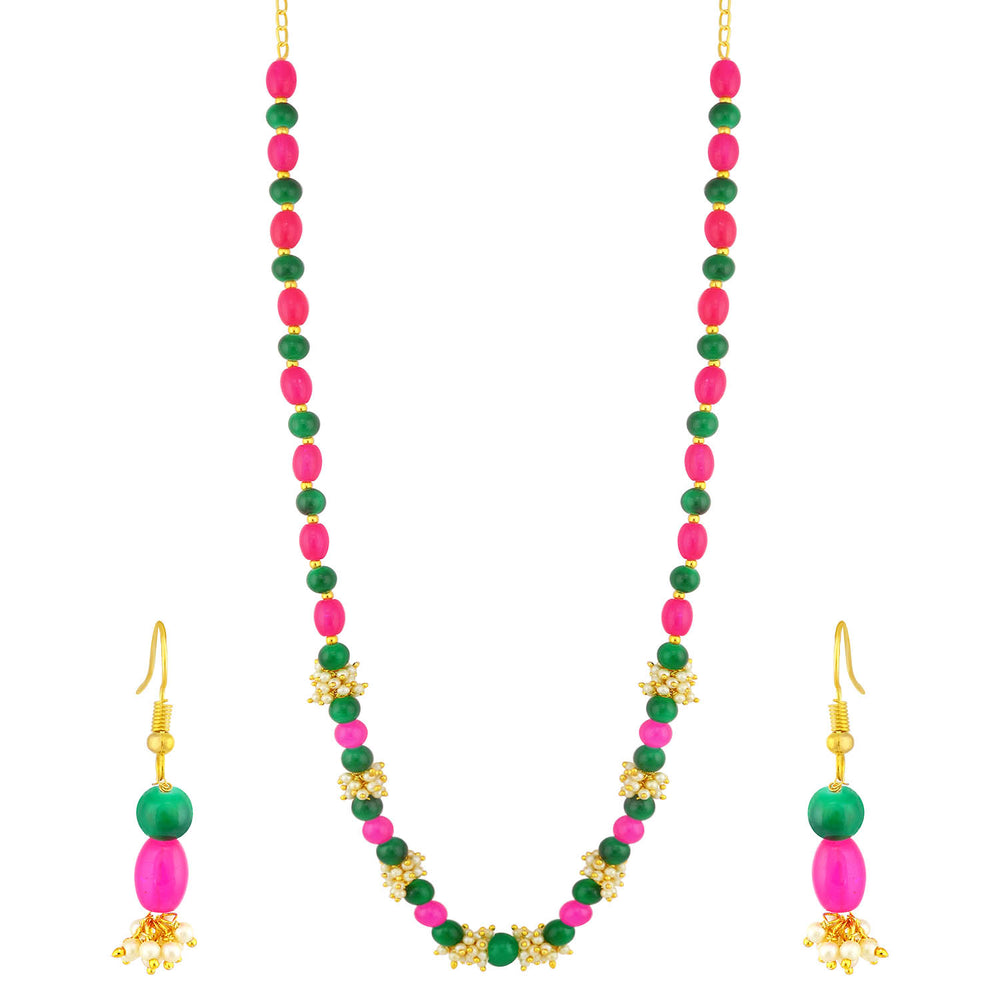 Sukkhi Classy Gold Plated Pearl Long Haram Necklace Set For Women