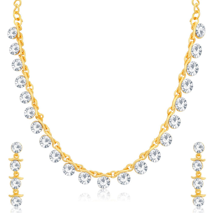 Sukkhi Sparkly Gold Plated Necklace Set for Women