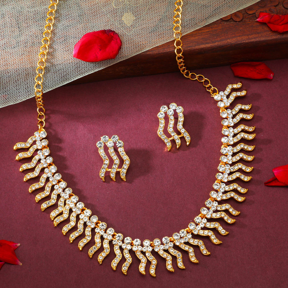 Sukkhi Modish Gold Plated Choker Necklace Set for Women