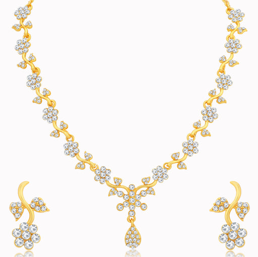 Sukkhi Ethnic Floral Gold Plated Floral Necklace Set for Women