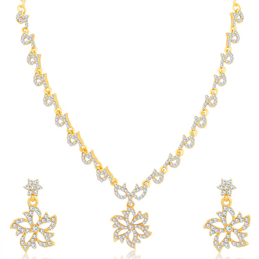 Sukkhi Resplendent Floral Gold Plated Necklace Set for Women