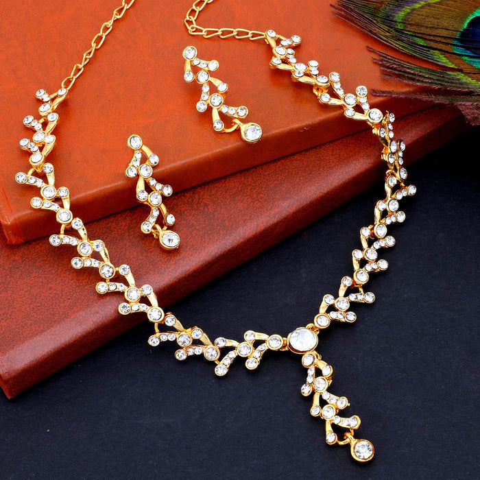 Sukkhi Charming Gold Plated Collar Necklace Set For Women