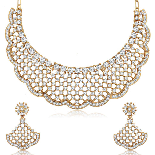 Sukkhi Resplendent Mehandi Gold Plated Choker Necklace Set for Women
