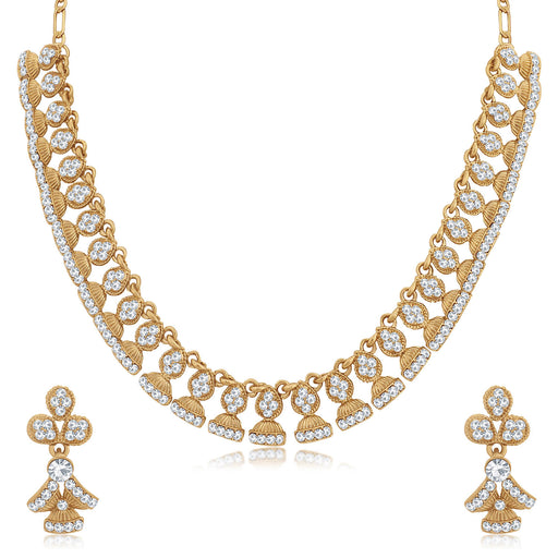 Sukkhi Exquisite Mehandi Gold Plated Jhumki Necklace Set for Women