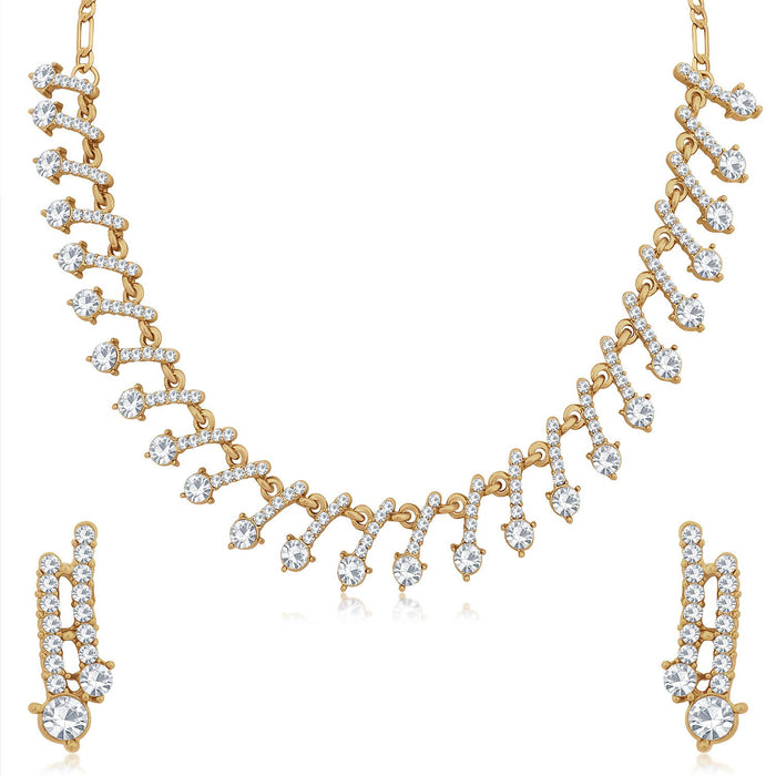 Sukkhi Sparkling Mehandi Gold Plated Necklace Set for Women