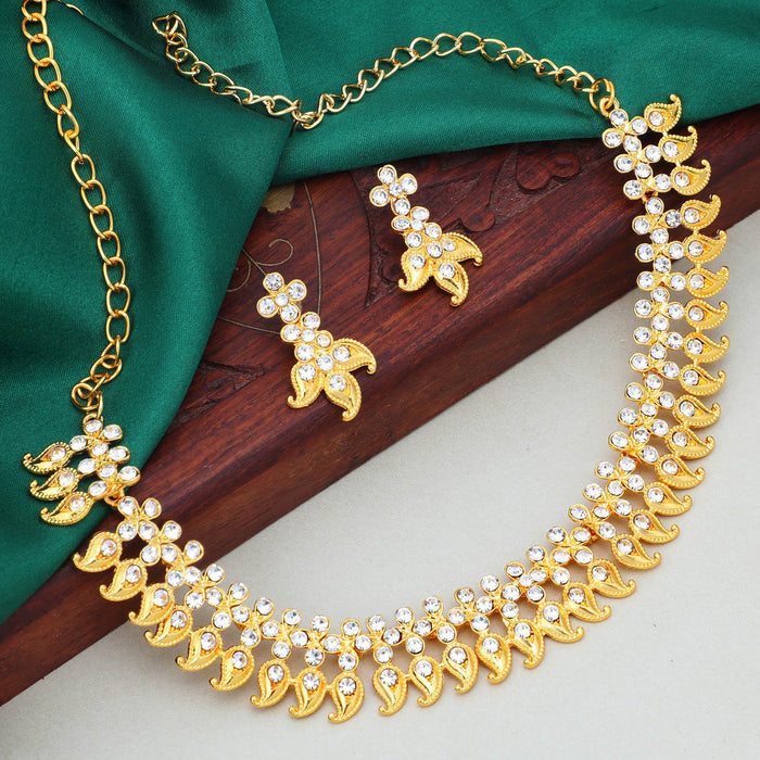 Sukkhi Adorable Gold Plated Floral Collar Necklace Set For Women