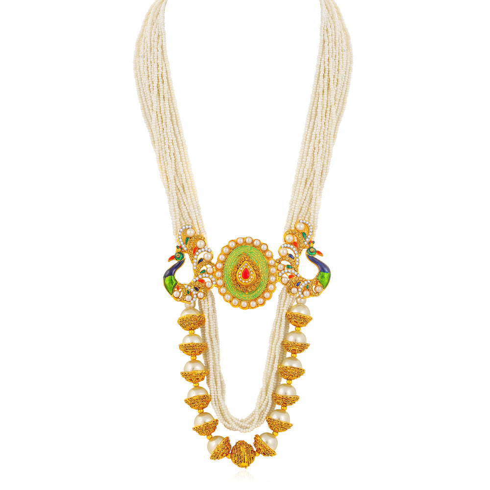 Sukkhi Youthful Gold Plated Peacock Long Haram Necklace Set for Women
