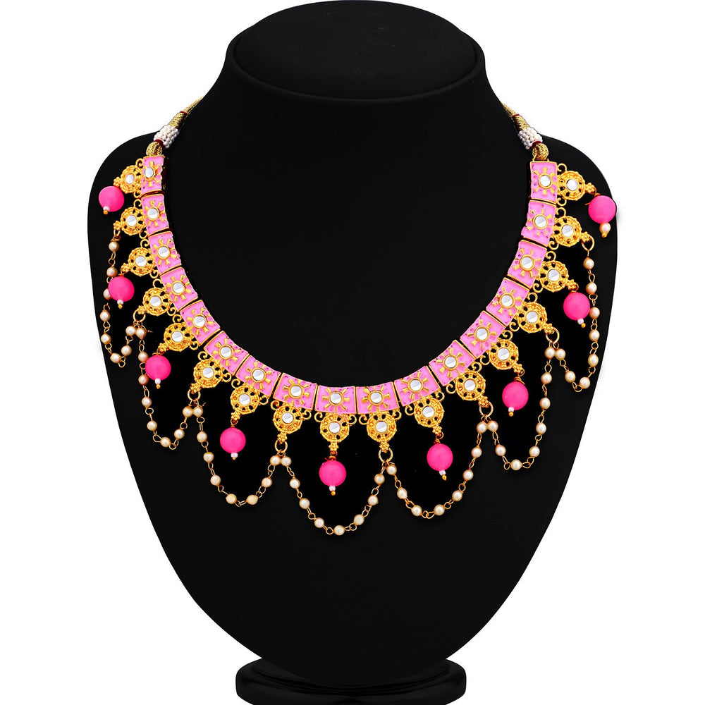 Sukkhi Lavish Mint Collection Gold Plated Kundan Necklace Set For Women