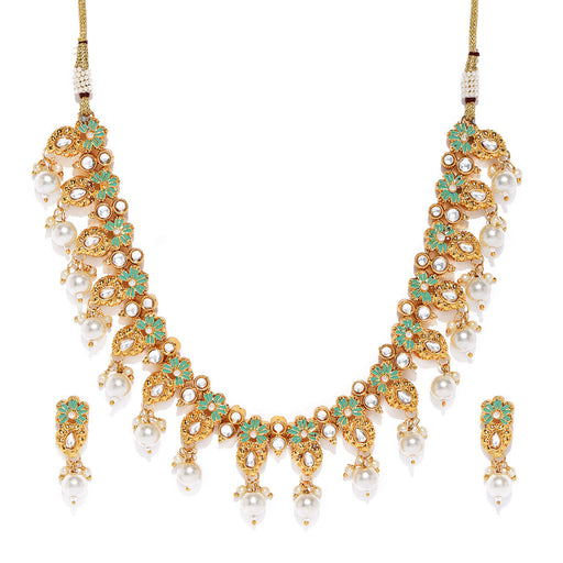 Sukkhi Adorable Mint Collection Gold Plated Kundan Necklace Set for Women