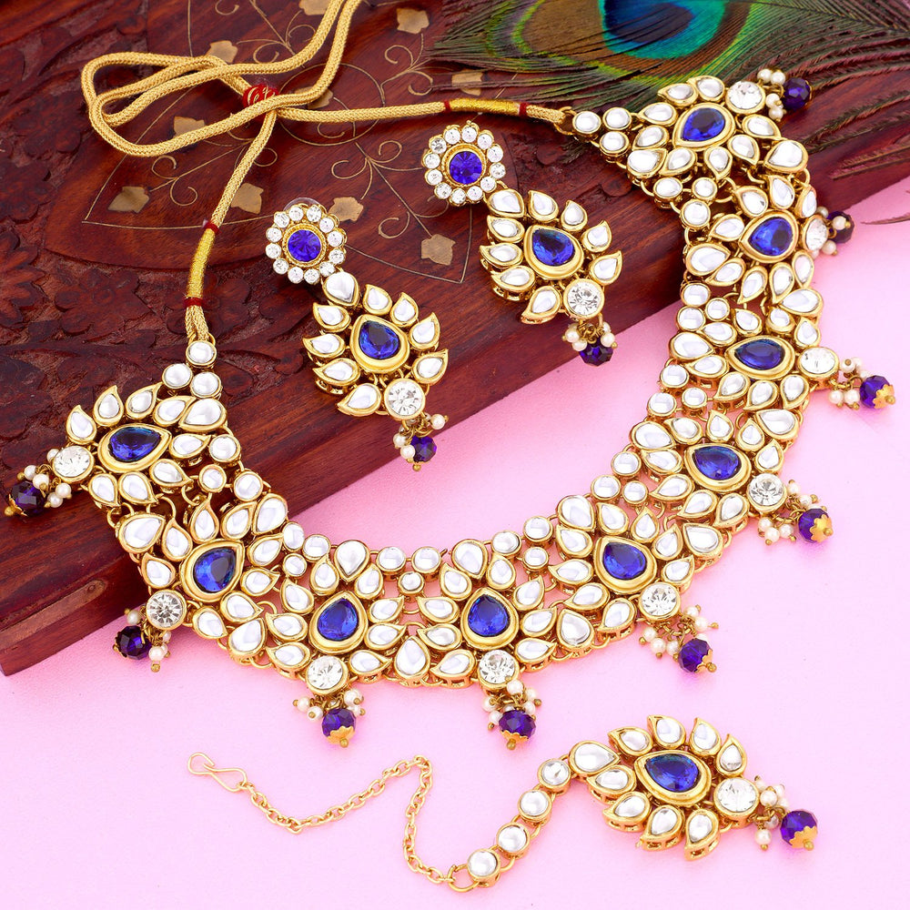 Sukkhi Dazzling Gold Plated Kundan Necklace Set For Women