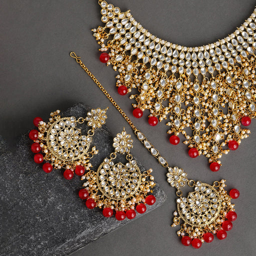 Sukkhi Glamorous Kundan Gold Plated Choker Neckalce Set for Women