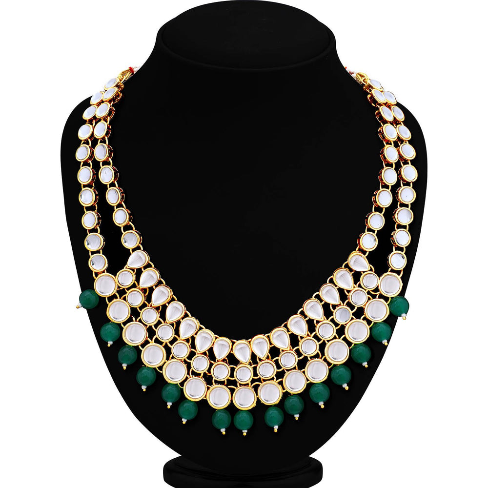 Sukkhi Glamorous Gold Plated Kundan Choker Necklace Set for Women