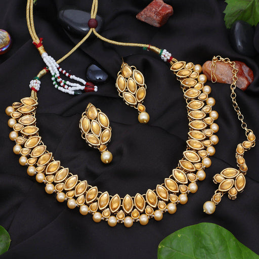 Sukkhi Elegant Gold Plated LCT Stone Choker Necklace Set For Women