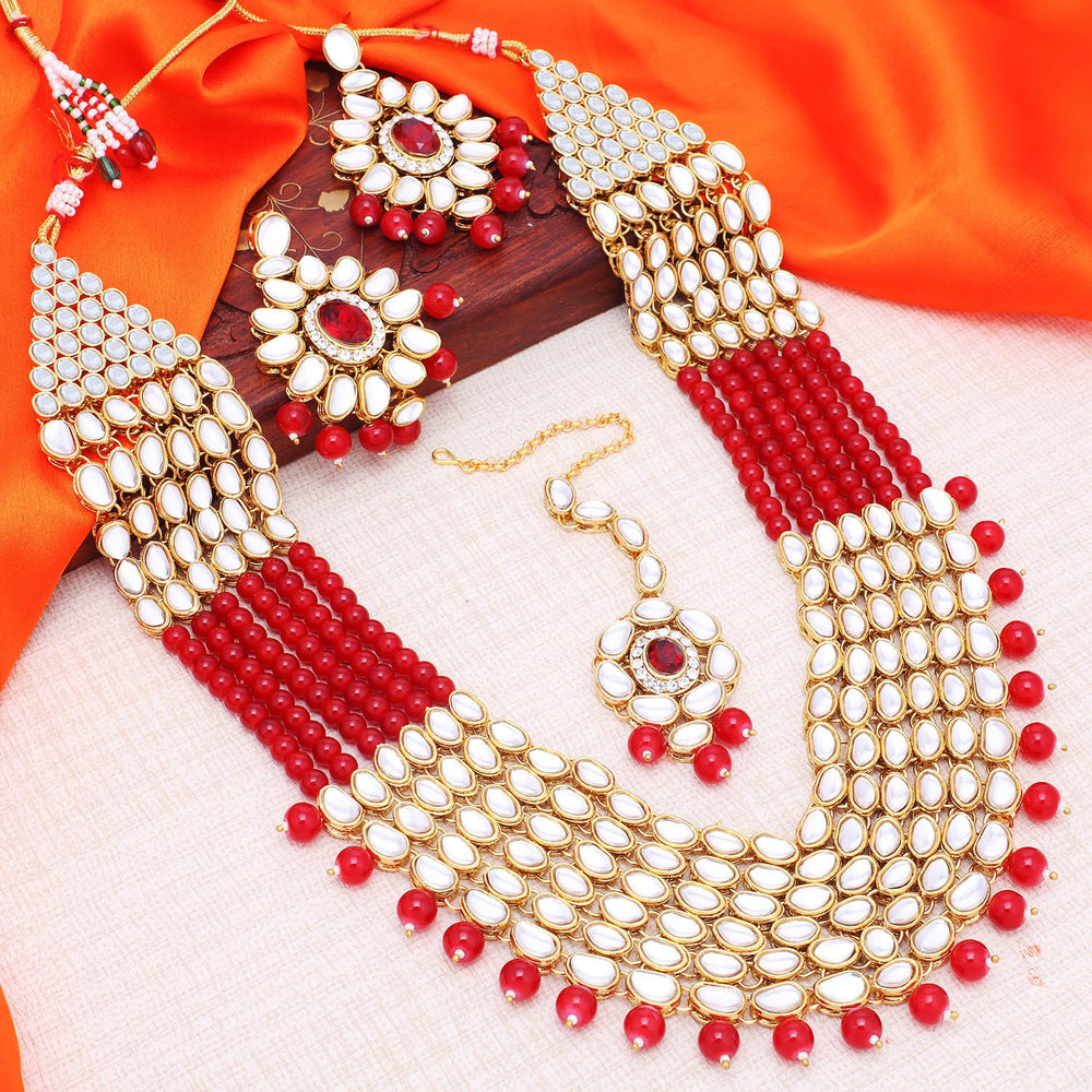 Sukkhi Luxurious Gold Plated Six String Kundan Necklace Set For Women