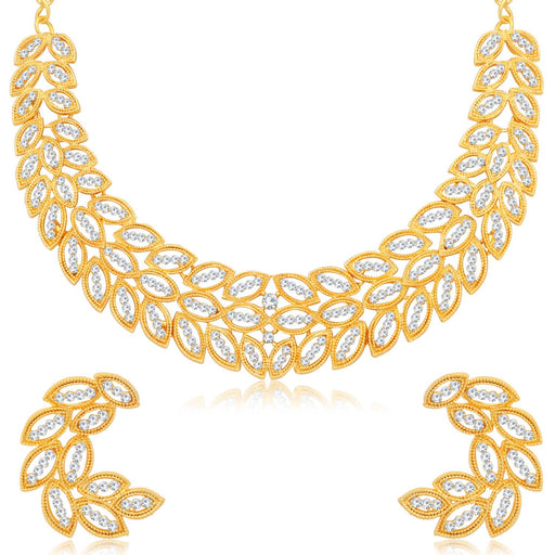Sukkhi Leafy Gold Plated Choker Necklace Set for Women