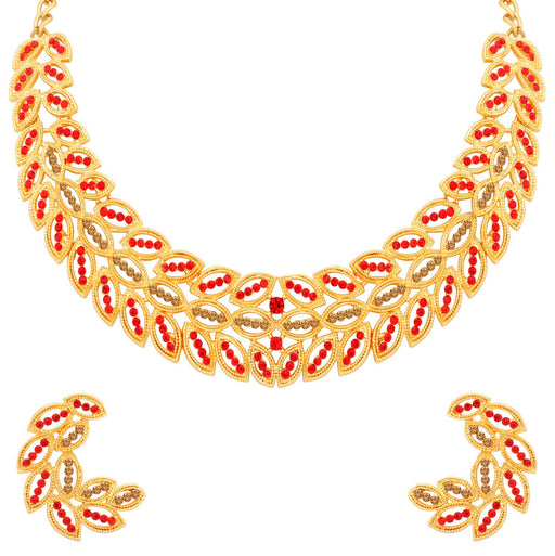 Sukkhi Glittery LCT and Red Stone Gold Plated Choker Necklace Set for Women