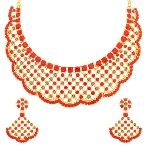 Sukkhi Luxurious LCT and Red Stone Gold Plated Choker Necklace Set for Women