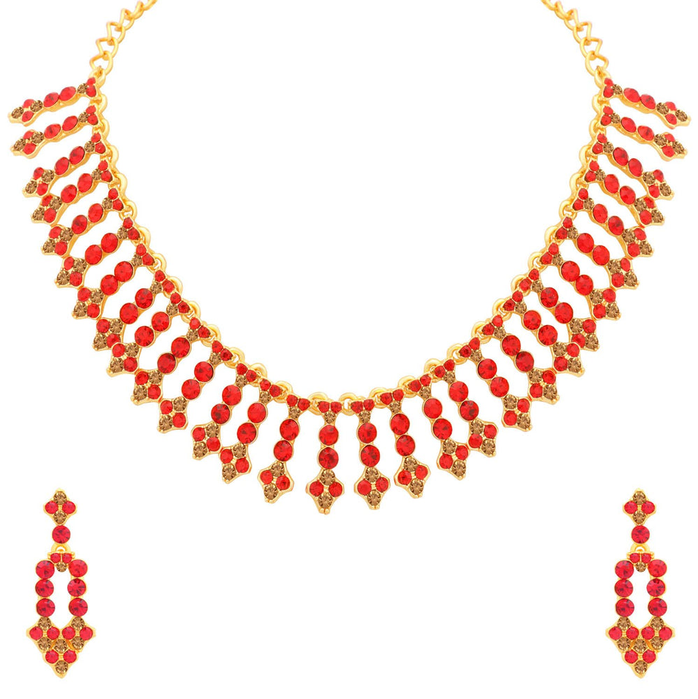 Sukkhi Dazzling LCT and Red Stone Gold Plated Choker Necklace Set for Women