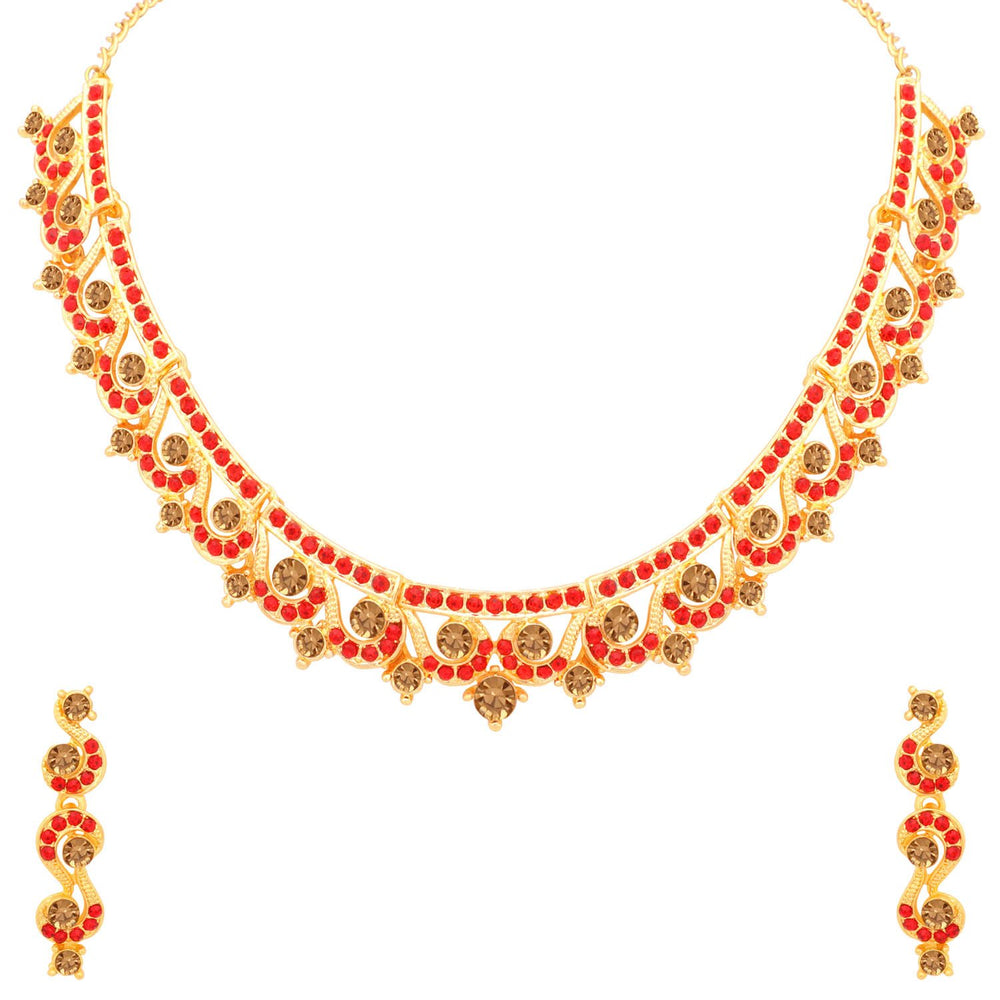 Sukkhi Adorable LCT and Red Stone Gold Plated Necklace Set for Women