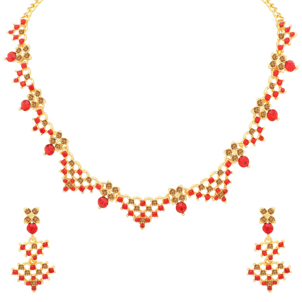 Sukkhi Stunning LCT and Red Stone Gold Plated Necklace Set for Women