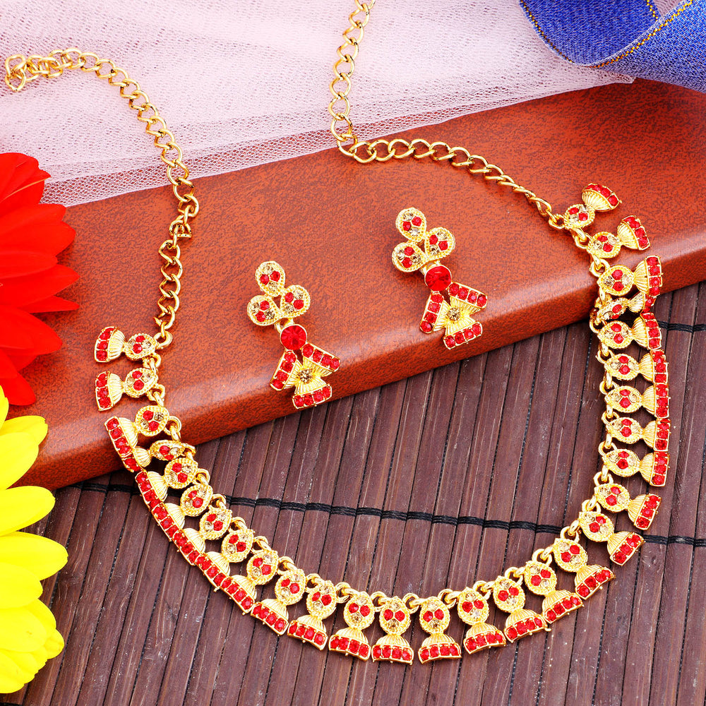 Sukkhi Modern LCT and Red Stone Gold Plated Jhumki Necklace Set for Women