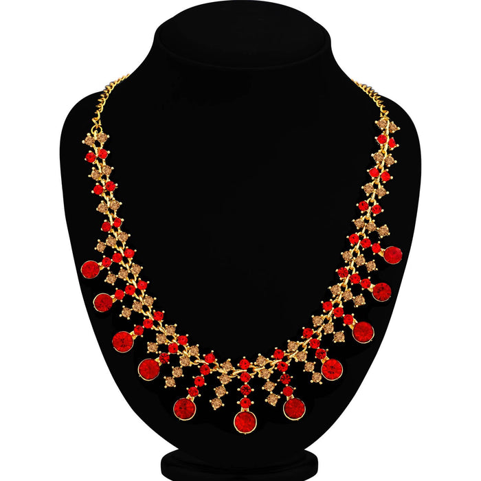 Sukkhi Incredible LCT and Red Stone Gold Plated Necklace Set for Women