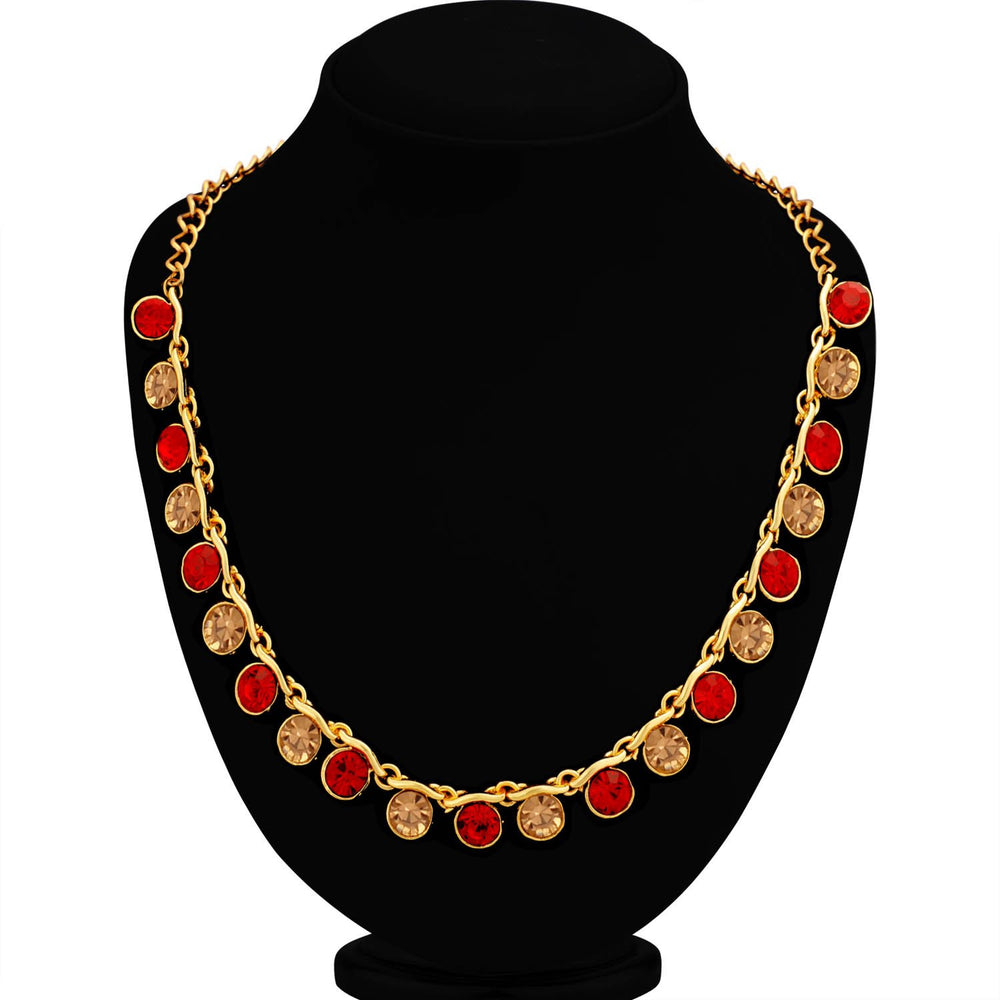 Sukkhi Fascinating LCT and Red Stone Gold Plated Necklace Set for Women
