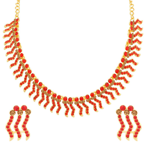 Sukkhi Adorable LCT and Red Stone Gold Plated Choker Necklace Set for Women