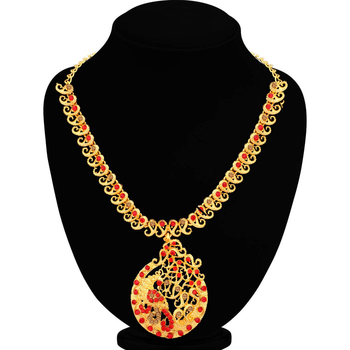 Sukkhi Glimmery LCT and Red Stone Gold Plated Peacock Necklace Set for Women